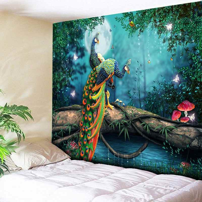 9095ff560ca9 Large Forest Tapestry Psychedelic Moonlight Indian Wall Hanging Peacock Oil  Painting Bohemian Mushroom Rock Polyester Blanket