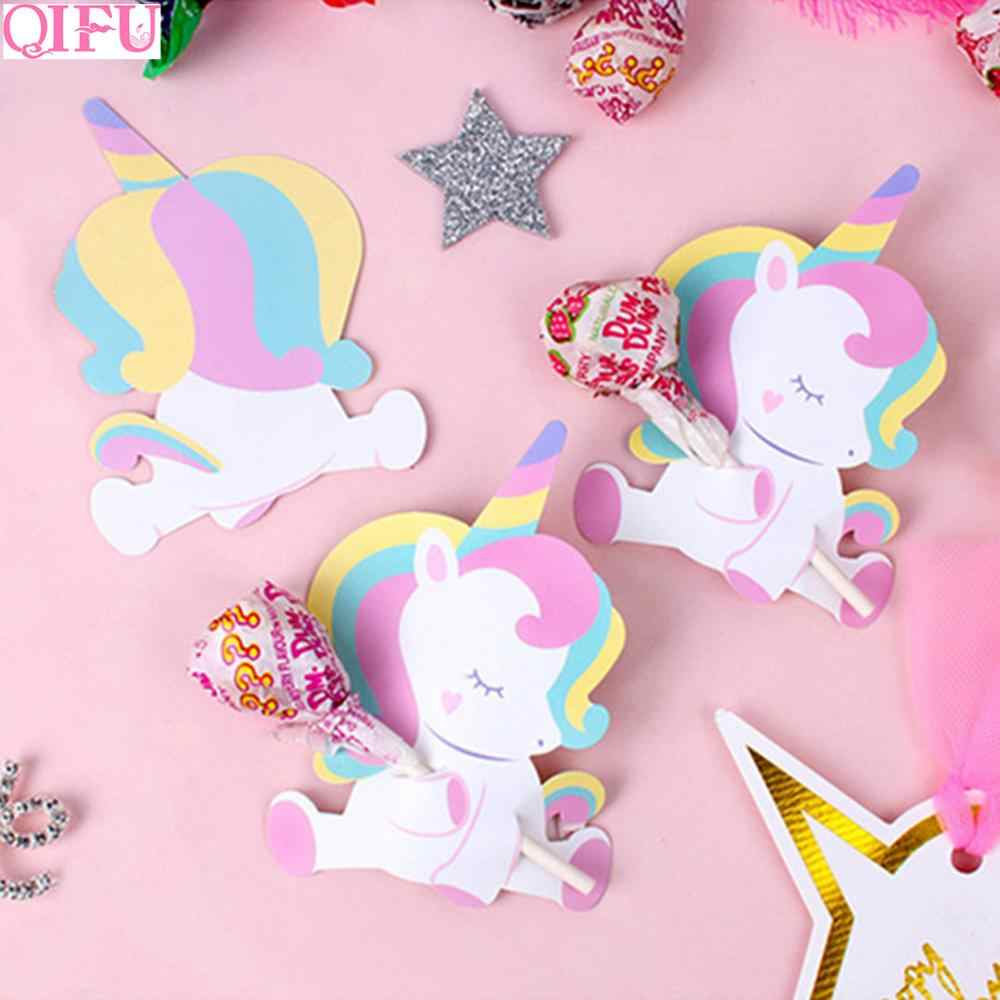 Qifu 50 Pcs Unicorn Butterfly Lebah Ladybug Lollipop Dekorasi Kartu Ulang Tahun Unicorn Dekorasi Pesta Unicorn Perlengkapan Pesta Baby Shower