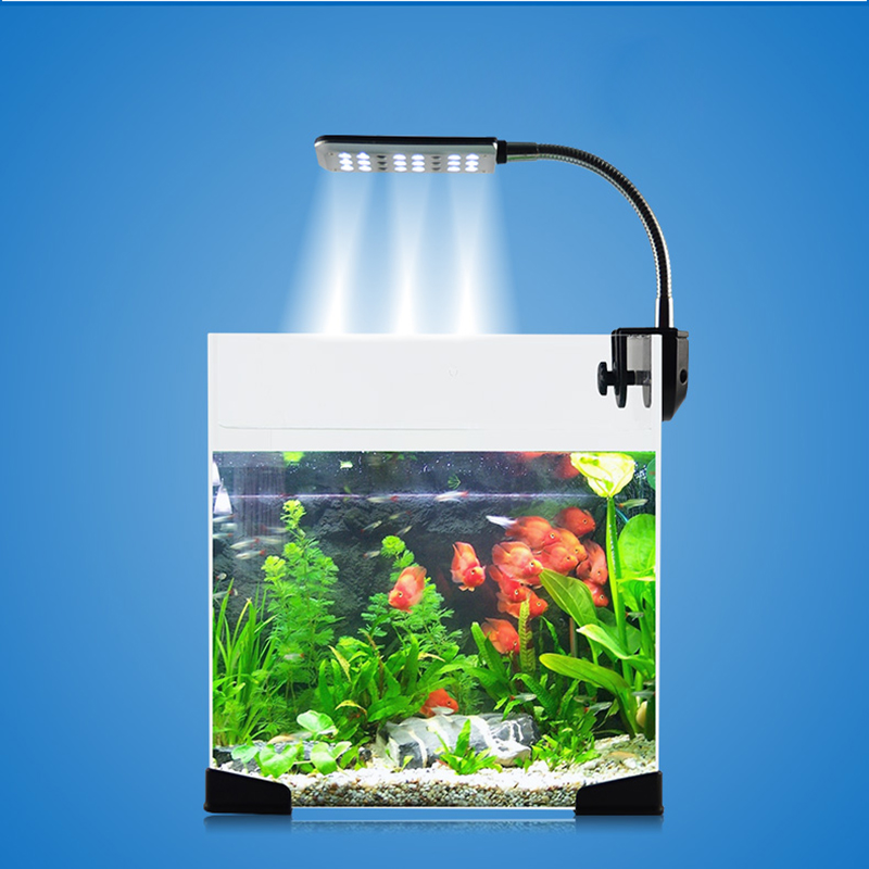 24 LED 3 Modes Clip-on Aquarium LED Lighting Fish Tank Coral Reef Nano LED Aquarium Lamp 18 White + 6 Blue Flexible Arm