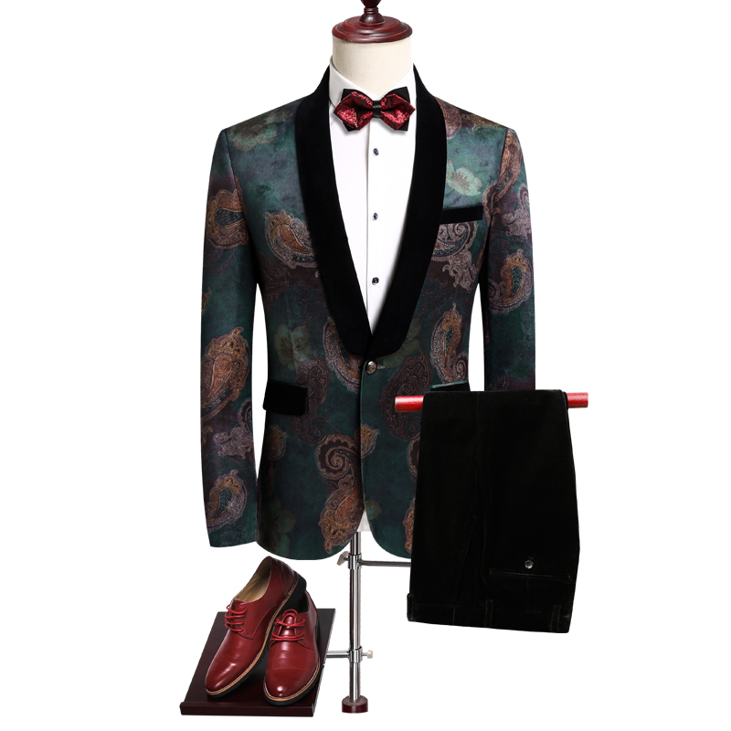 Asia Size Men Suit Two Piece Set Wedding Banquet Long Sleeve Men Blazers Jacket & Pants Slim Design