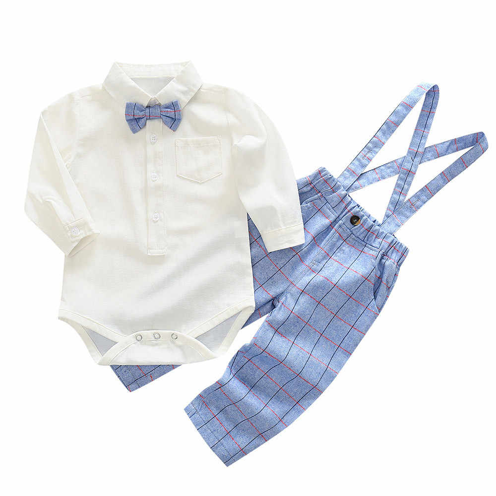 80022a685f48 2Pc Baby long-sleeved solid color bow tie robes + plaid bib two-piece