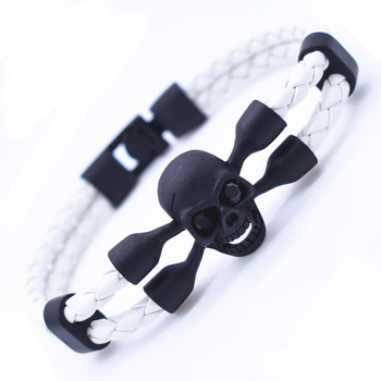 Vintage Black Skull Bracelets Bangles Hand Made Top Quality Length 210mm Leather Bracelet Skeleton Charm Bracelet Men Jewelry 1