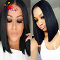 Cheap Bob Wigs 10 Inch Silky Straight Short Cut Wig Natural Looking Glueless Synthetic Lace Front Wig High Quality