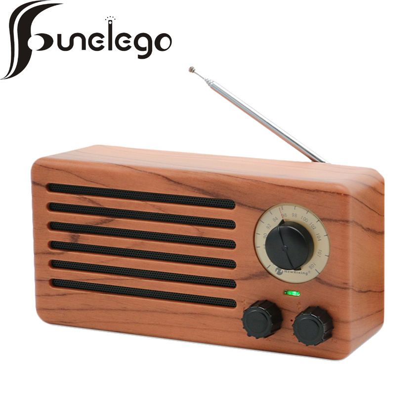 Haut-parleur Portable rétro Vintage haute sensibilité Radio FM Anti-interférence microphone intégré Grain de bois son Hi-Fi