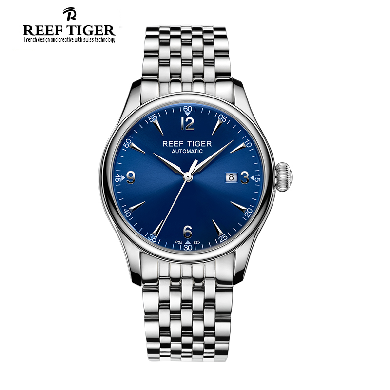 Reef Tiger/RT Designer Casual Watches Automatic Business Watches for Men Stainless Steel Watches with Date RGA823 best selling reef tiger rt classic business watches for men rose gold steel automatic watch with date rga823