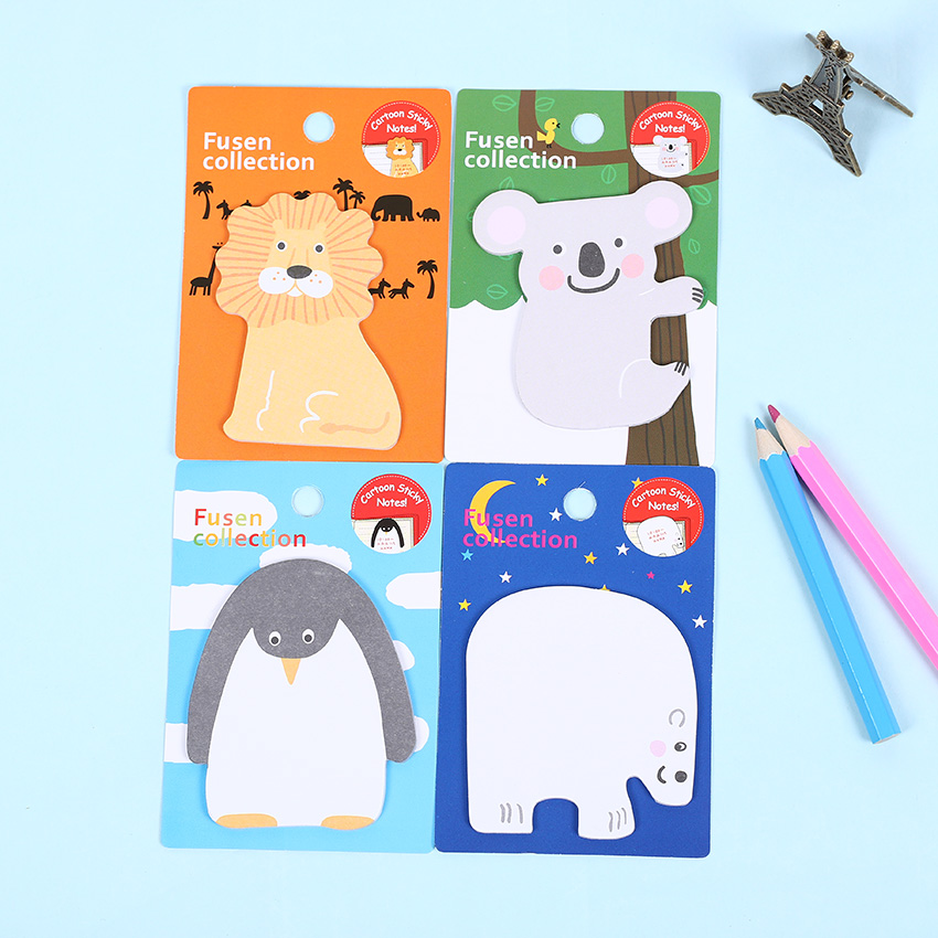 4 PCS Cartoon Animals Memo Pad Sticker Notepad School Office Supply Escolar Papelaria Gift Stationery 2 pcs pack various lovely cat magnet bookmark paper clip school office supply escolar papelaria gift stationery