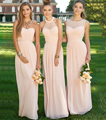 Elegant Long Light Pink Bridesmaid Dress 2016 Halter Pleat Chiffon Bridesmaid Dresses Peach Cheap Bridesmaids Dresses B2