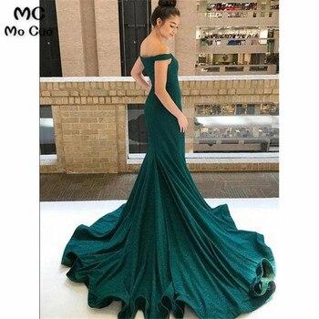 2019 Green Mermaid Off Shoulder Evening Dresses Sweep Train Short Sleeve Formal Satin Evening Party Dress for Women