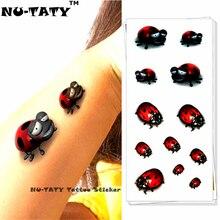 Nu-TATY Ladybug Child 3d Temporary Tattoo Body Art Flash Tattoo Stickers 19x9cm Waterproof Styling Tatoo Home Decor Wall Sticker