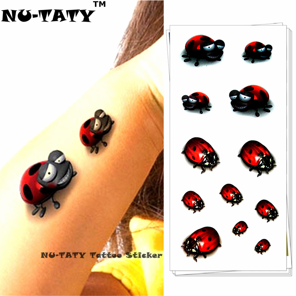 Nu-TATY coccinelle enfant 3d tatouage temporaire Body Art Flash tatouage autocollants 19 * 9 cm étanche style Tatoo Home Decor Wall Sticker