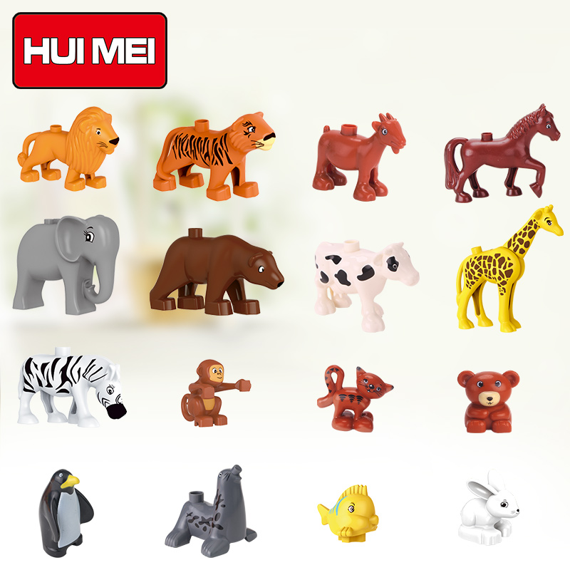 HUIMEI Classic Animal Building Blocks Zoo series Childlen Toys DIY Set Brick educational toys for children compatible with duplo superwit 72pcs big size city diy creative building blocks brick compatible with duplo sets lepin educational toys children gifts