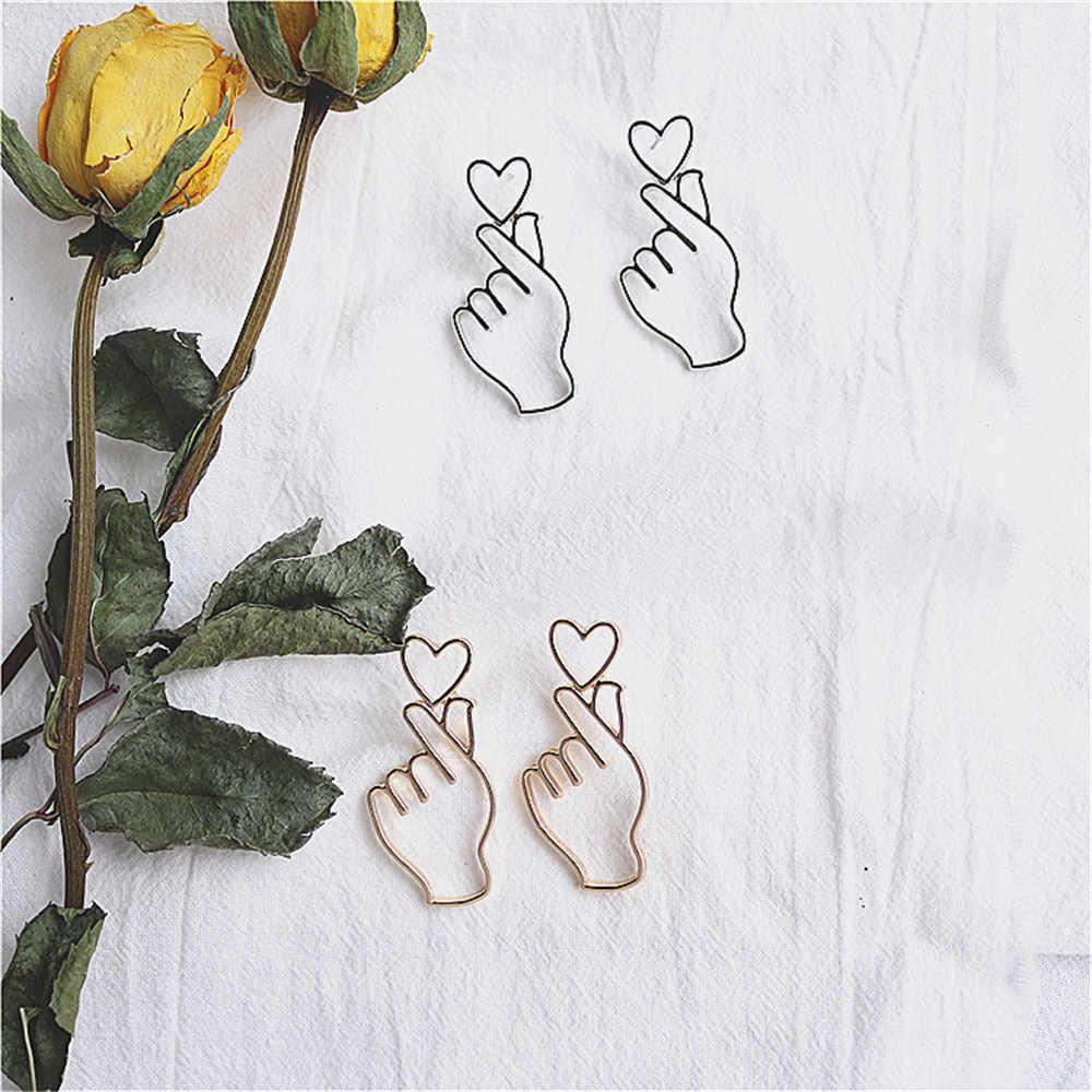 פשוט עיצוב זהב צבע הולו יד Stud עגילים לנשים חדש מותג אופנה שרוול אוזן פירסינג לב מחווה עגיל מתנה a196