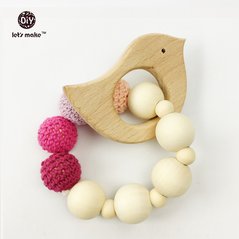 Let's make Wooden Teether Baby Toys Wood Infant Teething Toy Pink tone for Girl Organic Nursing Bracelet Newborn chew toys