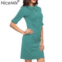 NiceMix 2019 Elegant Office Dress Women Solid Slim Pencil Dresses Turn-down Collar Party Female Loose Vestidos