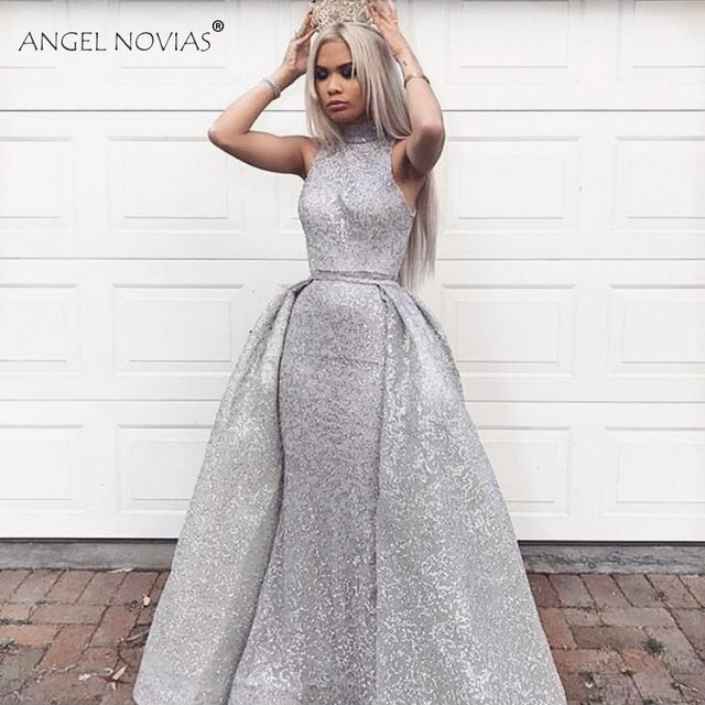 ANGEL NOVIAS Long Silver High Neck Saudi Arabic Glitter Evening Dresses  2018 with Detachable Skirt Abendkleider 2018 Custom Made 8a38c4034f04