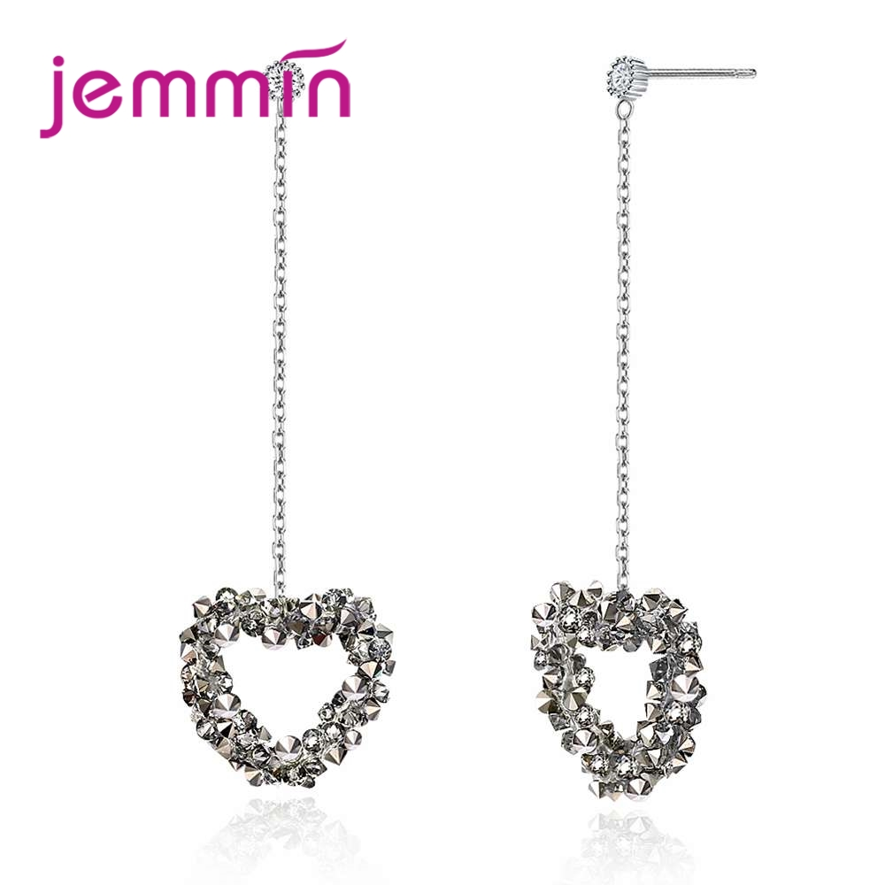 Jemmin New Special Design Fashion Sweet Heart Rhinestone Long Earrings 925 Sterling Silver Luxury Pendant Earrings For Sale pair of sweet rhinestone hollow flower design earrings for women