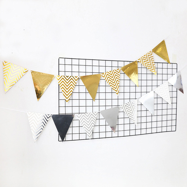 Leeiu Glitter Paper Happy Birthday Banners Gold Flag Home Decor Banner Wedding Decoration Party Supplies