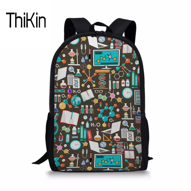 THIKIN Chemistry School Backpack Women Casual Satchel Kids Book Bag Schoolbag For Girls Female Shoulder Bags Tourist Wholesale