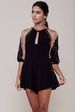 Women Love Black Valentina Romper Rayon Crepe Floral Crochet Lace One-Piece Summer Sexy Nude Tulle Jumpsuits