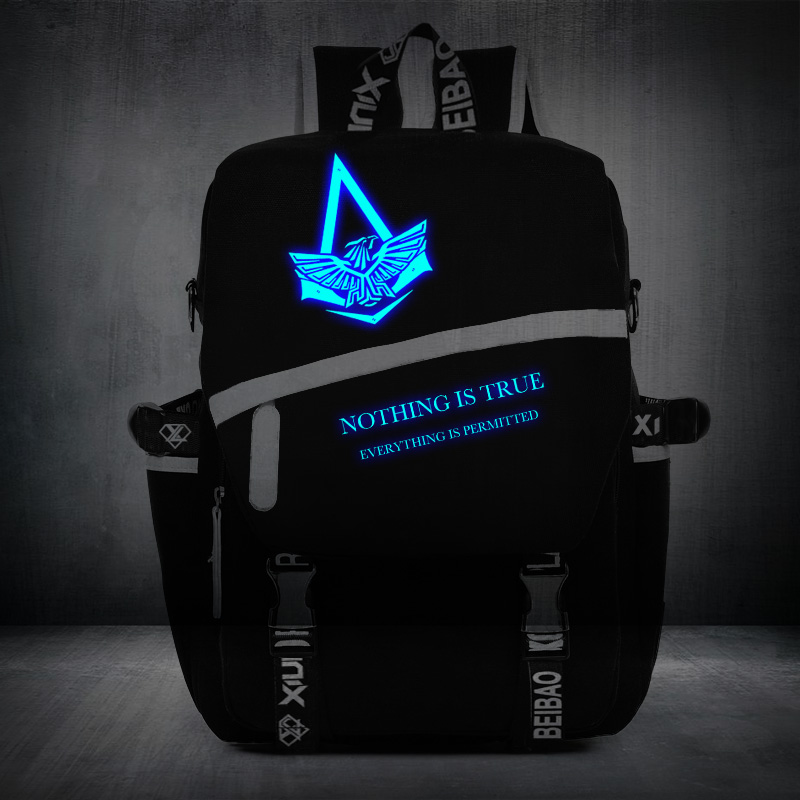 High Quality Assassins Creed Backpack Luminous School Bags For Boy Girl Game Canvas Backpacks Casual Bag assassins creed cosplay backpack men school bags official assassins creed syndicate logo school backpacks bag rucksack