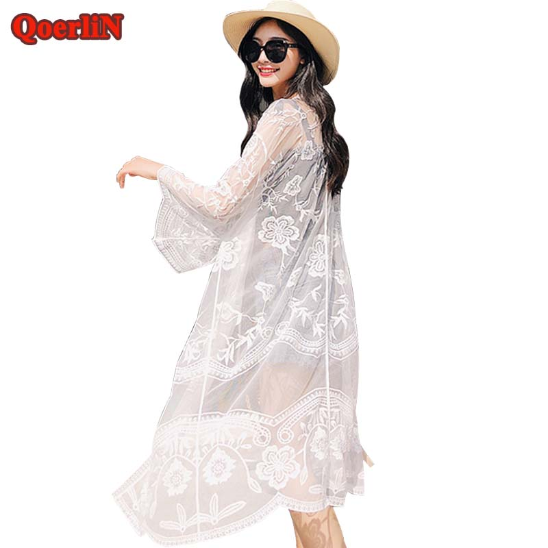Qoerlin Holiday Loose Embroidery Lace Mesh Loose Sleeve Long Sunscreen Coat Cardigan Womens 2019 Summer White Beach Coat Girls