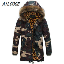 AILOOGE Fashion Camouflage Winter Coat Men 2017 New Thick Warm Long Style Parka Men Comfortable Down Jacket Hooded HZ572
