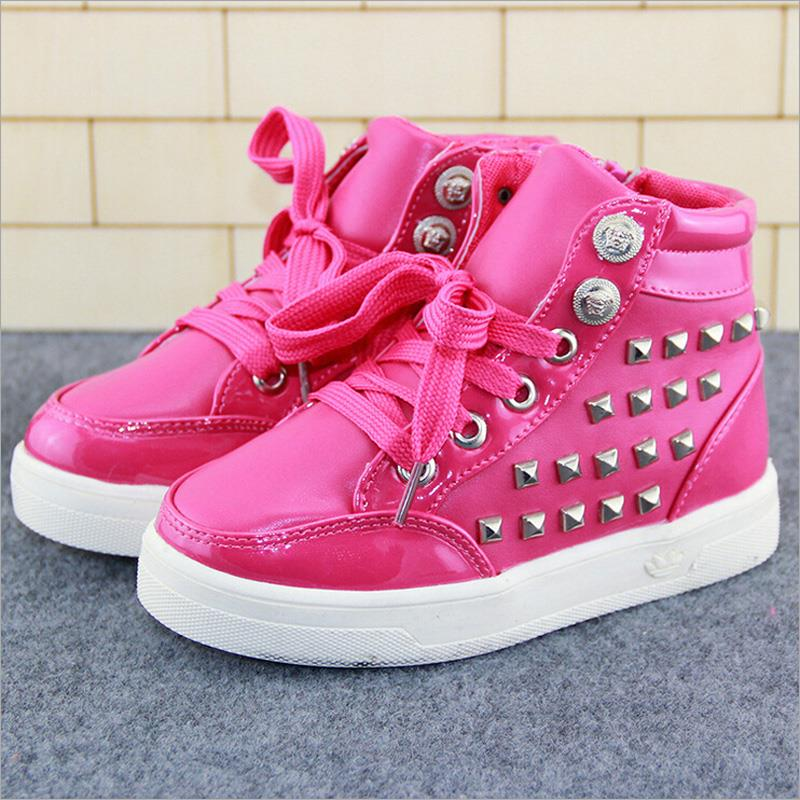 9c08e66cd9b autumn children shoes girls shoes fashion rivet casual kids shoes  breathable pu leather shoes girls soft high top sneakers girls