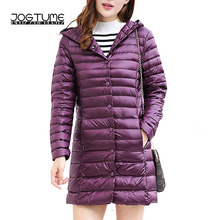 JOGTUME Womens Down Jacket with Hooded Autumn Winter Purple Casual White Duck Button Female Slim Coat High Quality