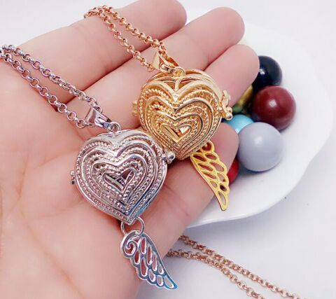 SHIYING layer heart-tail wing ball design pattern hot caller Plating Ball Jewelry Hollow out long Necklace Women