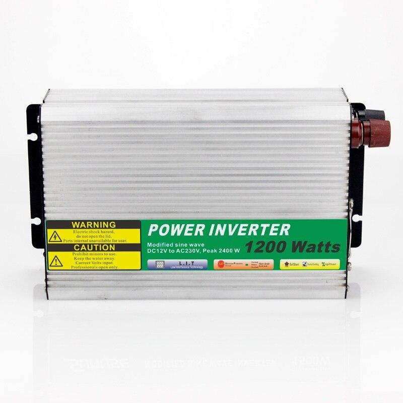 ФОТО MAYLAR@ 1pcs Modified Sine Wave DC 12V to AC 110V or 220V 1200W Car Power Inverter Converter Power Solar inverters