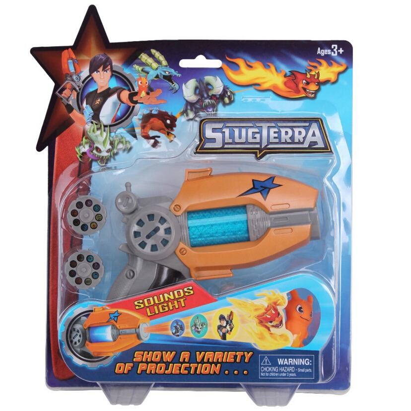 23CM Cartoon Anime Slugterra Sounding Light Toy Gun Give 1 Slugterra Doll Action Figure As Presents Boy Projection Pistol Gun