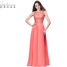 Robe de Soiree Longue Billiga Coral Lace Appliques Long Evening Dress 2017 Verklig Bild En Line Evening Gown Vestido de Festa Longo