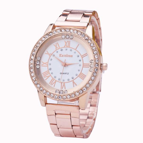 2018 Lovers Watch Luxury Crystal Gold Watches Women's Men's Crystal Rhinestone Stainless Steel Analog Crystal Quartz Wrist Watch