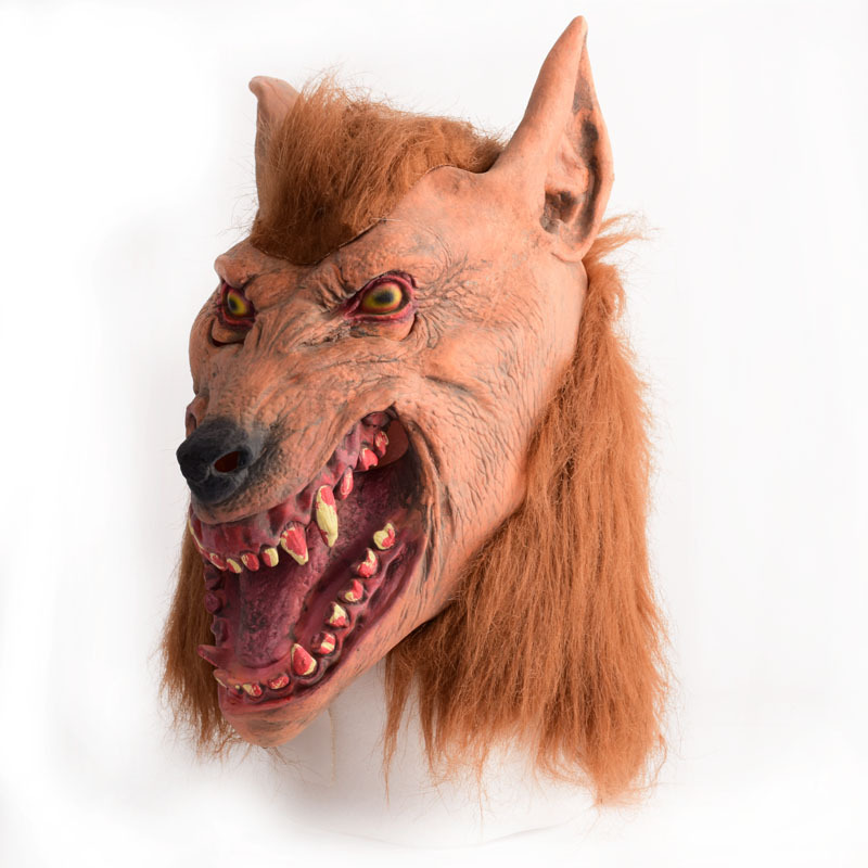HOT SALE Halloween brown Creepy Adult wolf head latex Rubber Mask Costume Prop Novelty nu