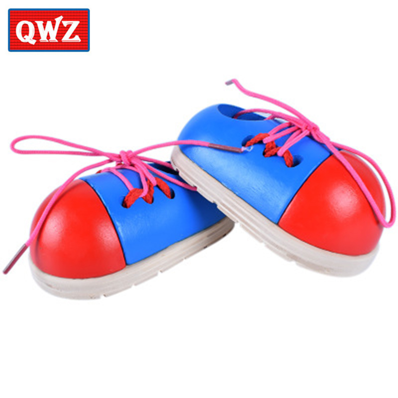 1Pc Wooden Toddler Lacing Shoes Early Education Teaching Aids For Children Kid