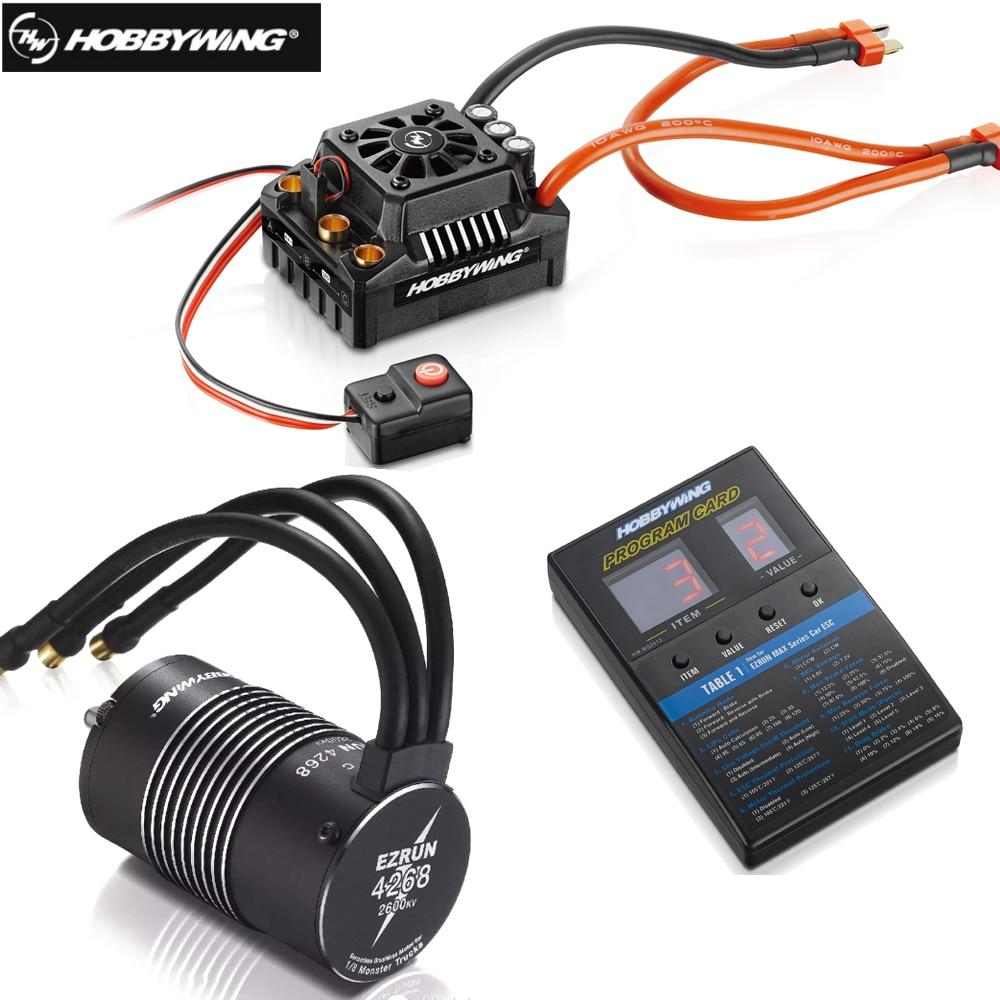 Hobbywing EzRun Max8 v3 150A Waterproof Brushless ESC T / TRX Plug + 4268 KV2600 Motor +LED Programing for 1/8 RC Car Truck