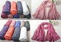 Za 2016, hijab Floral, algodão Liso lenço, hijab Muçulmano, Estéreo bordado flor cachecol, xales e lenços, cachecol, envoltório da cabeça, cape