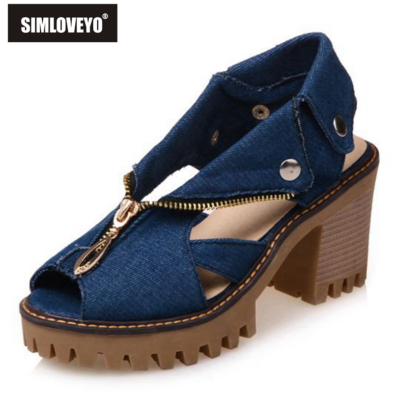 169f6126385e88 SIMLOVEYO The new style of denim with fish mouth women sandals high heels  women s zipper large size non slip shoes QL1139