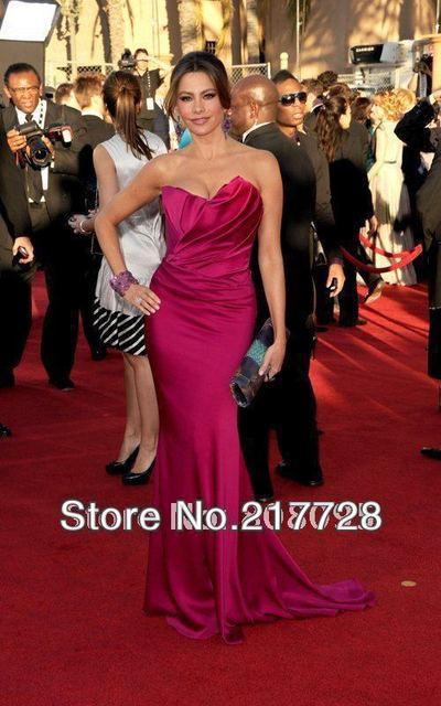 Custom Made Sofia Vergara Strapless plissada cetim SAG Awards Red Carpet Celebrity Dresses vestido de noite Formal vestidos de baile de finalistas