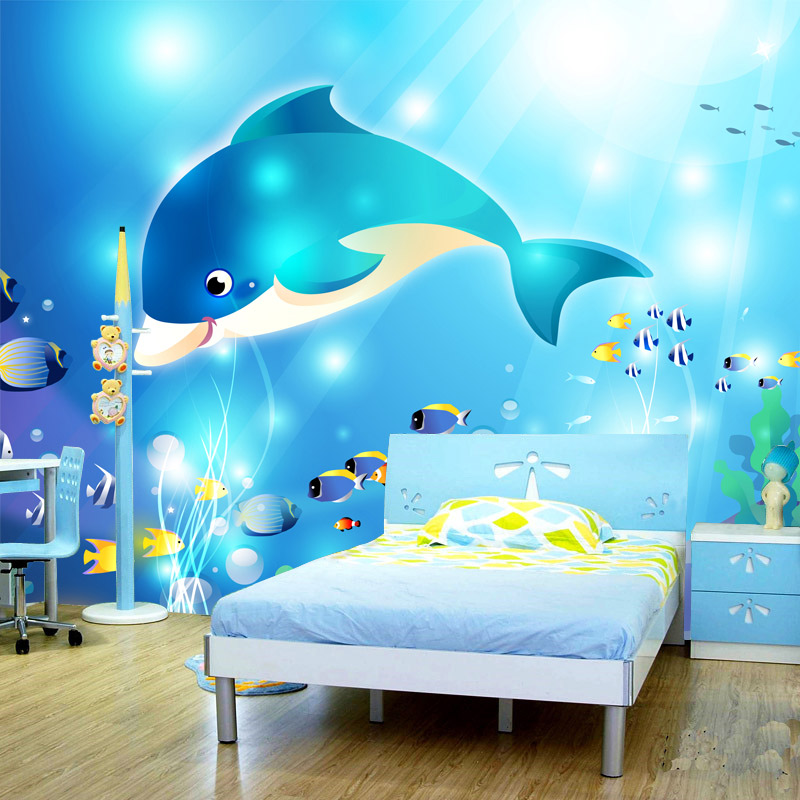 Customized Any Size 3D Stereoscopic Underwater World Cartoon Dolphins Wall  Mural Children S Bedroom Living Room