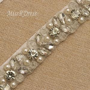 Image 4 - MissRDress Handmade Wedding Belt Silver Crystal Bridal Sash Rhinestones Pearls Bridal Belt For Wedding Dresses JK927