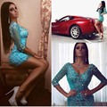 Real Photos Customized  Women Clothes Gown vestidos 2016 Blue Beaded Rhinestone Short Cocktail Dresses Plus Size 2-24W  S852