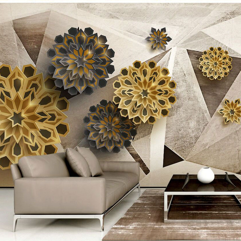 8D Large Polygon Mural 3d Abstract Flower Wallpapers Mural for Sofa TV Background 3D Wall Photo Mural Abstract Wall paper 10m victorian country style 3d flower wallpaper background for kids room mural rolls wallpapers for livingroom wall paper decal