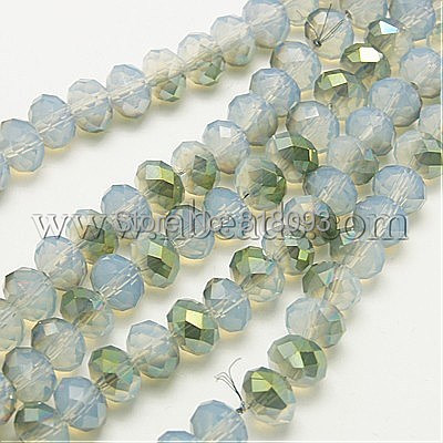Electroplate Opal Glass Beads Strands,  Half Plated,  Faceted,  Abacus,  LightGreen,  4x3mm,  Hole: 1mm