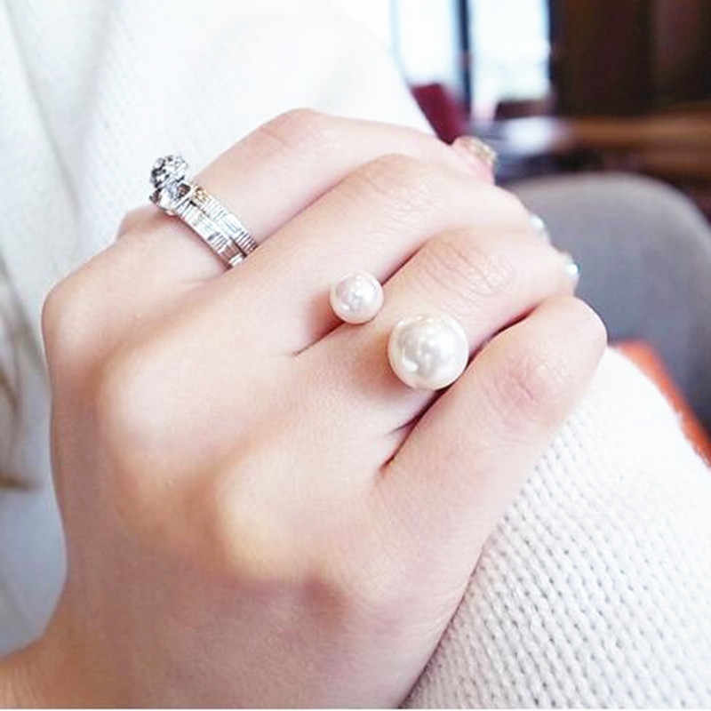 Classic retro double finger ring hollow cross right Zhilong couple opening rings for women  4CRD76