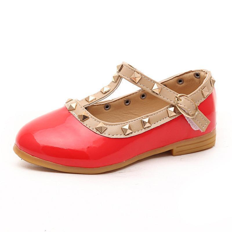 OMDS New Children Liu Spikes Sandal Spring and Summer and Fall Princess Dancing Single Shoes Eur Size 21-28 YXX
