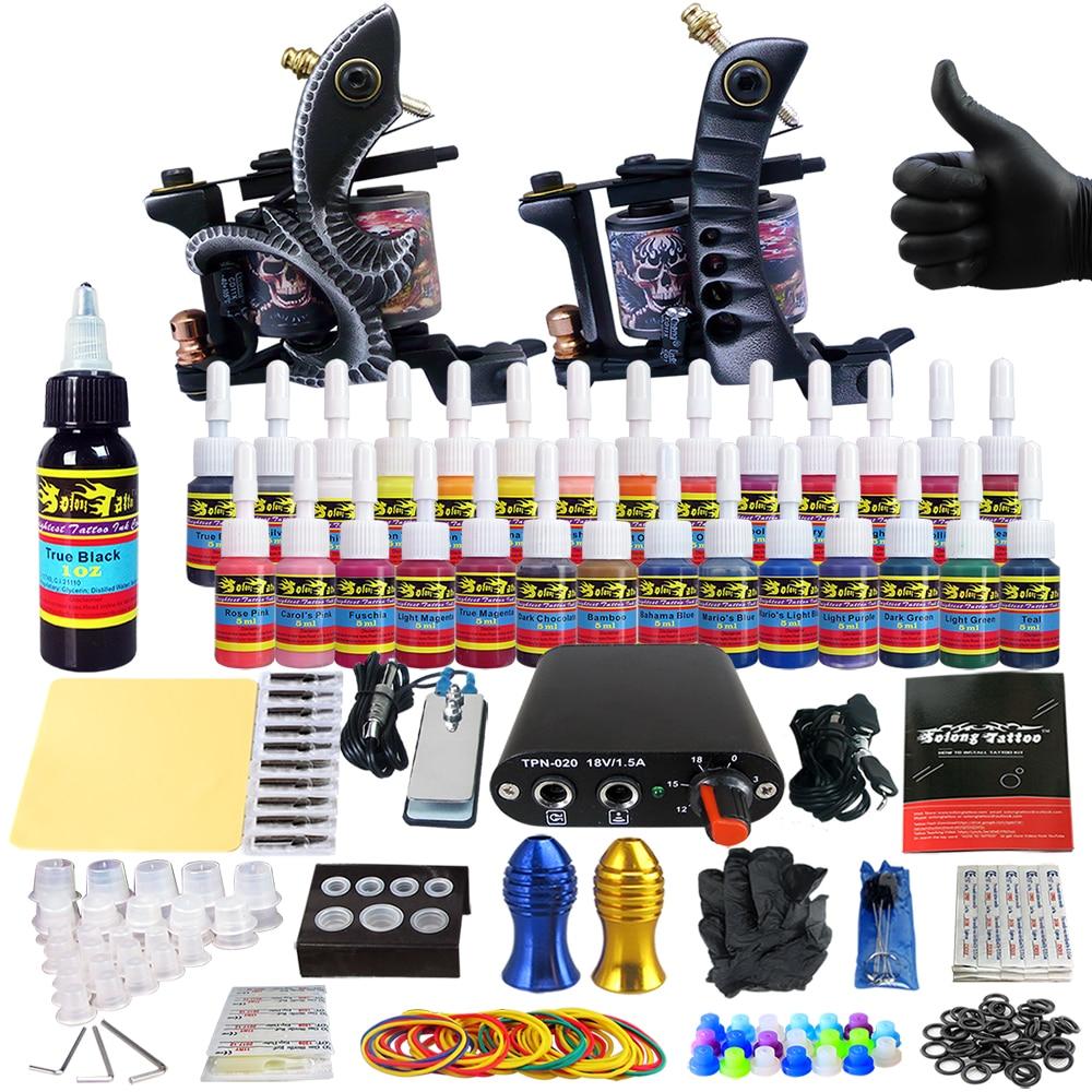 все цены на Professional Complete Tattoo Kit Machine for Beginner Starter 2 Pro Machine Guns 28 Inks Power Supply Needle Grips Tips TK204-25 онлайн