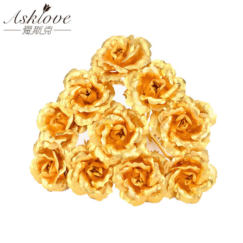Asklove 5/10pcs Real 24K Gold Foil Rose Flower Gold Rose Plated Valentine's Day Gift Wedding Decor Lover Rose Artificial Flowers