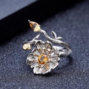 Image 4 - GEMS BALLETT 0,65 Ct Natürliche Citrin Edelstein Ring 925 Sterling Silber Handmade Blühende Mohnblumen Blume Ringe für Frauen Bijoux