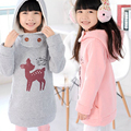 New Plus Velvet Winter Children Jackets Cartoon Deer Girls Hoodies Outerwear Thicken Kids Coat Baby First Christmas Gift
